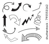 set of arrow in black and white ...   Shutterstock .eps vector #795553162