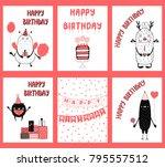 set of hand drawn birthday... | Shutterstock .eps vector #795557512