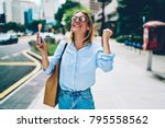 emotional businesswoman in... | Shutterstock . vector #795558562
