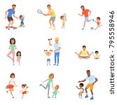 kids with parents playing... | Shutterstock .eps vector #795558946