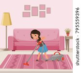 cheerful teen girl cleaning... | Shutterstock .eps vector #795559396