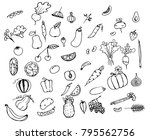 a variety of vegetables and... | Shutterstock .eps vector #795562756