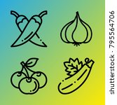 vegetarian vector icon set... | Shutterstock .eps vector #795564706