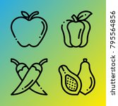 vegetarian vector icon set... | Shutterstock .eps vector #795564856