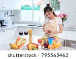 cooking asian woman housewife... | Shutterstock . vector #795565462