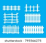 wooden fence isolated on blue ... | Shutterstock .eps vector #795566275