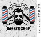barbershop logo with barber... | Shutterstock .eps vector #795571192