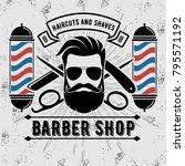 barbershop logo with barber... | Shutterstock .eps vector #795571192