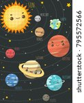 the colorful solar system. sun... | Shutterstock .eps vector #795572566