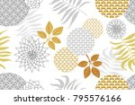 golden and silver floral... | Shutterstock .eps vector #795576166