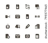 sim cards icons. perfect black... | Shutterstock .eps vector #795577465