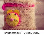 knited rope with mouse face... | Shutterstock . vector #795579082