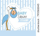 Baby Shower. Stork With Baby Boy