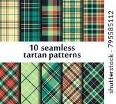 set of seamless tartan patterns | Shutterstock .eps vector #795585112