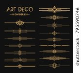 Set of Art deco dividers and headers. Creative template in style of 1920s for your design. Vector illustration. EPS 10 | Shutterstock vector #795590746