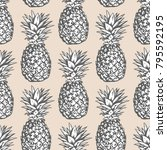 seamless vector pattern with... | Shutterstock .eps vector #795592195