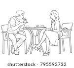 sketch of man and woman sitting ... | Shutterstock . vector #795592732