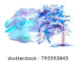 Blue  Purple Tree  Bush...