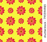 seamless pattern with dahlia... | Shutterstock . vector #795594985