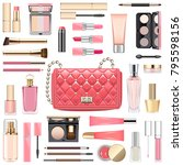 vector makeup cosmetics with... | Shutterstock .eps vector #795598156
