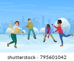 the group of friends playing... | Shutterstock . vector #795601042