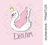 hand drawn cute swan vector... | Shutterstock .eps vector #795607135