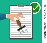 approved paper document  green... | Shutterstock .eps vector #795616246