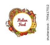 vector sketched italian pizza ...   Shutterstock .eps vector #795617512