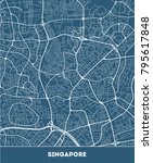 vector city map of singapore... | Shutterstock .eps vector #795617848