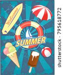summer and ice cream  | Shutterstock . vector #795618772