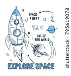 space theme slogan graphic with ... | Shutterstock .eps vector #795619078