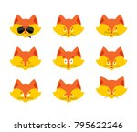 fox set emoji avatar. sad and... | Shutterstock .eps vector #795622246