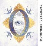 ornate mystic eye inside the... | Shutterstock .eps vector #795626062