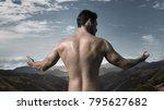 portrait of a muscular guy... | Shutterstock . vector #795627682