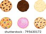 chocolate chip  fudge  sugar ... | Shutterstock .eps vector #795630172