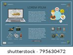 vector flat car service... | Shutterstock .eps vector #795630472