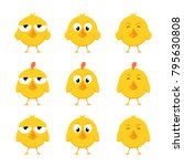 set of funny yellow chickens... | Shutterstock .eps vector #795630808
