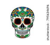mexican sugar skull with... | Shutterstock .eps vector #795634696