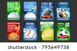 sport poster set vector. golf ... | Shutterstock .eps vector #795649738