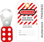lock out   tag out   lockout... | Shutterstock .eps vector #795653632