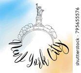 new york city travel logo.... | Shutterstock .eps vector #795655576