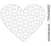heart shaped jigsaw puzzle... | Shutterstock .eps vector #795656002