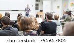 male speaker giving... | Shutterstock . vector #795657805