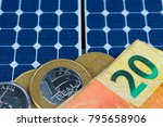 solar panel with brazilian money   Shutterstock . vector #795658906