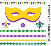 mardi gras greetings with mask  ... | Shutterstock .eps vector #795660805