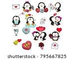 set cute romantic penguins.... | Shutterstock .eps vector #795667825
