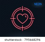 neon light. heart in target aim ... | Shutterstock .eps vector #795668296
