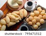 breakfast with cheese bread ... | Shutterstock . vector #795671512