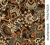 floral seamless pattern. damask ... | Shutterstock .eps vector #795674215