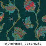 paisley watercolor floral... | Shutterstock . vector #795678262